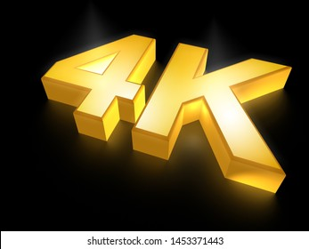 Ultra HD (high definition) resolution technology, 4K UHD concept 3D render illustration, golden 4K