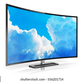 Ultra high definition digital television screen technology concept: 3D render of curved OLED 4K UltraHD TV or computer PC monitor display with colorful blue sky with clouds picture isolated on white