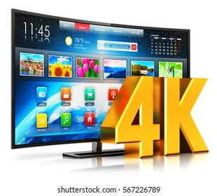 Ultra high definition digital television screen technology concept: 3D render of 4K UltraHD resolution internet web curved smart TV cinema or computer PC monitor display isolated on white background