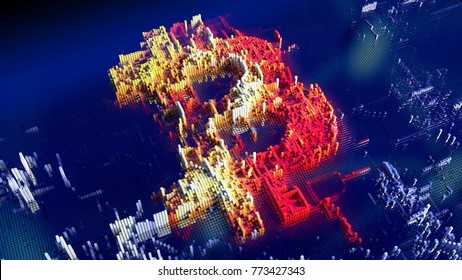 Ultra high quality 8K 3D render of a closeup concept of small cubes in grid network that build up to form the bitcoin symbol in a technological cyberspace formed from connected independent blocks