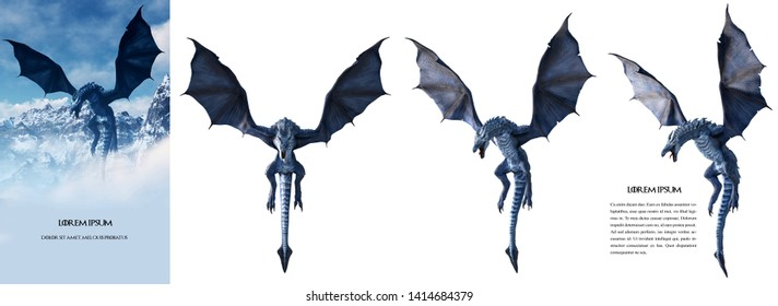 Ultra high-resolution (150 Mpx) Ice dragon 3D rendered with transparent background. Change the background and make your own poster easily, like the left sample image. Just use the magic wand.