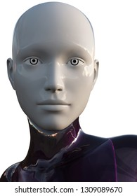 Ultra Modern White Purple Android Female Artificial Intelligence 3D Illustration