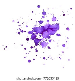 Ultra violet spots. Abstract paint splashes on a white background. Purple watercolor stains