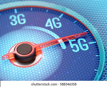 Ultrafast 5G wireless network on display of the speedometer. 3D illustration.