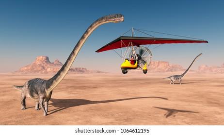 Ultralight trike over a desert and the dinosaur Omeisaurus Computer generated 3D illustration