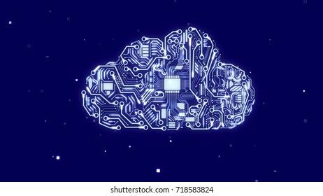 Ultramodern 3d illustration of a robot cloud with shining circuits, accumulators, antennas, fiber optics, micro appliances, light blue CPU microchips, in the dark blue background.