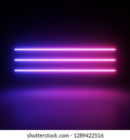 ultraviolet neon glowing lines formed geometric pattern. Abstract fashion background. Colorful neon lights, arch, pink blue vibrant colors, laser show. 3d rendering - Illustration