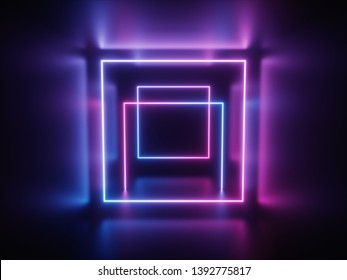 ultraviolet neon portal, glowing lines, tunnel, corridor, virtual reality, abstract fashion background, violet neon lights, arch, pink blue vibrant colors, laser show. 3d rendering - Illustration