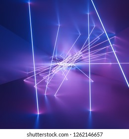 ultraviolet neon square lines, glowing lines, tunnel, corridor, virtual reality, abstract fashion background, violet neon lights, arch, pink blue vibrant colors, laser show - 3D rendering