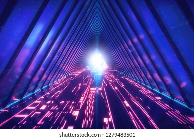 Ultraviolet sci fi tunnel. Glowing neon lamps. Holograms of connected chains. Cyberpunk concept background.