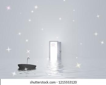 Umbrella floats in water in pure white room with open door. 3D rendering