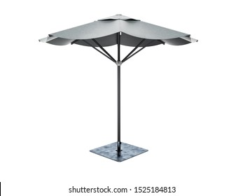 umbrella for restaurant on central support 3D render on white background no shadow