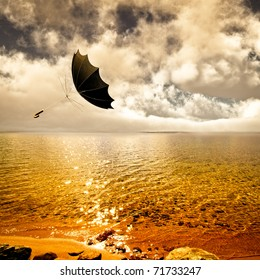 Umbrella turned inside out flys through the air on a summer breeze passing over a wilderness lake sparkling in golden sunlight. Past sky and clouds with fog on the horizon.  Original illustration