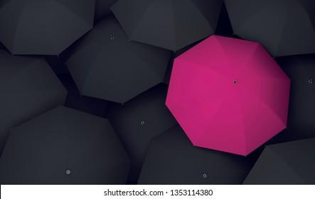 umbrella unique different single 3D illustration