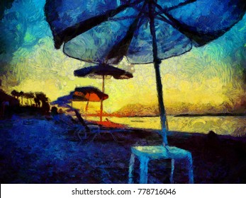 Umbrellas on the beach. Tropical paradise landscape. Stock. Big size pictorial art. Watercolor and oil mixed painting style. Good for printing art pictures, design postcard, posters and wallpapers
