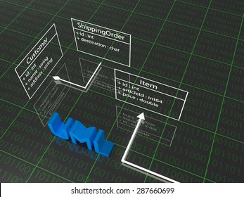 UML schema combined with the 3D text. 3D Illustration
