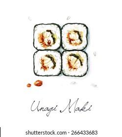 Unagi Maki - Watercolor Food Collection