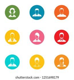 Unauthorized person icons set. Flat set of 9 unauthorized person icons for web isolated on white background