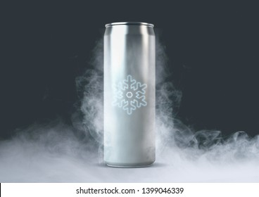 An unbranded freezing cold aluminum tin can with cold vapor and a glowing ice symbol an isolated dark studio backgound - 3D render