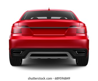 Unbranded red car - rear view (3D render)