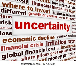 Uncertainty financial creative message design. Risky business investment conceptual poster