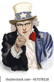 Uncle Sam. Digital painting.