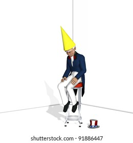 Uncle Sam Dunce 1.  Uncle Sam sitting on a stool wearing a dunce cap.  Blank cap for your text. Political humor.