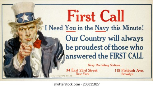 Uncle Sam, 'First Call' US Navy recruiting poster by James Montgomery Flagg, 1917