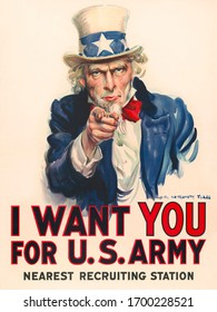 Uncle Sam, 'I Want You' Poster for recruiting people into US Army by James Montgomery Flagg in 1917