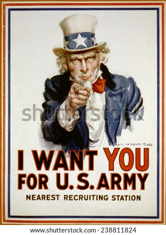 Uncle Sam, 'I Want You' US Army recruiting poster by James Montgomery Flagg, 1917