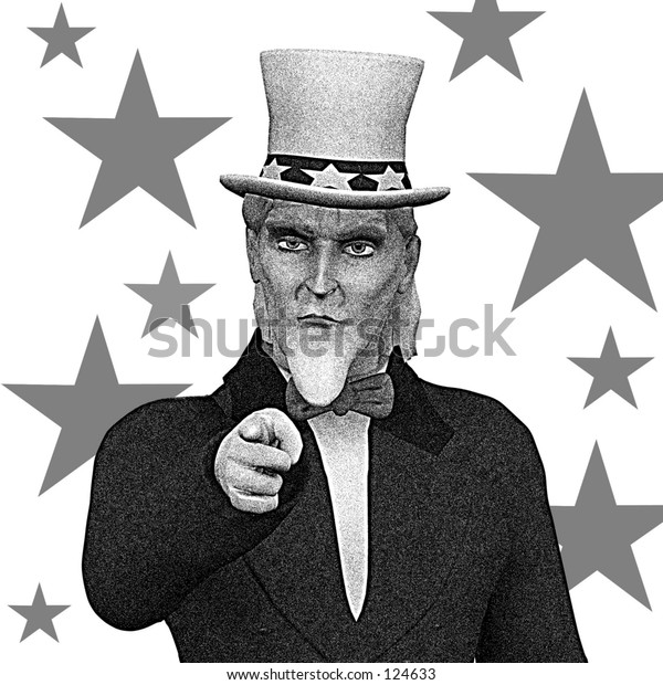 Uncle Sam pointing b/w vintage design with stars.