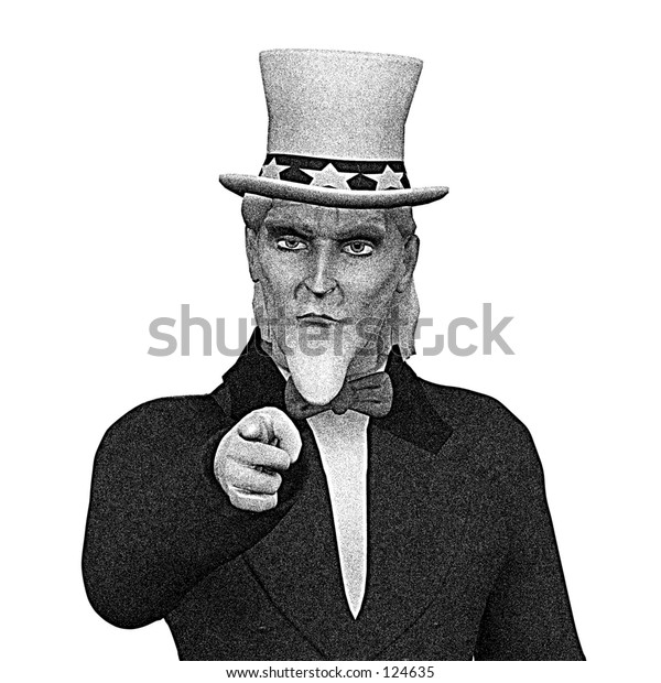 Uncle Sam pointing b/w vintage design with room for text.