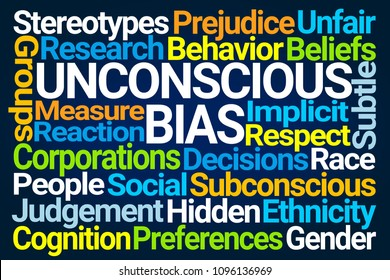 Unconscious Bias Word Cloud on Blue Background