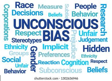 Unconscious Bias Word Cloud on White Background
