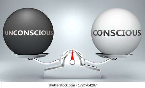 Unconscious and conscious in balance - pictured as a scale and words Unconscious, conscious - to symbolize desired harmony between Unconscious and conscious in life, 3d illustration