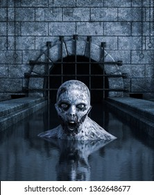 Undead in abandoned sewer,3d rendering