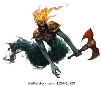 Undead ghost creature wearing armor and holding an axe flying through the air isolated white background - digital fantasy painting