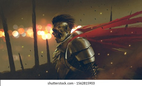 the undead knight in medieval armors prepares for battle against a background dawn, digital art style, illustration painting