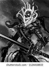 Undead magic skeleton knight with a large sword - Digital fantasy painting