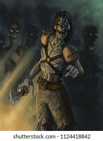 Undead pirate zombies raised by magic - Digital fantasy painting