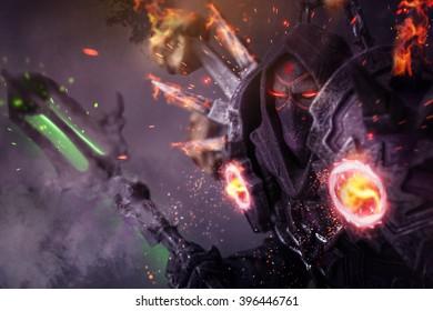 Undead Warlock - Demon Concept (with grunge overlay)