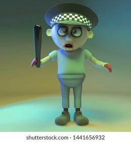 Undead zombie monster police officer, 3d illustration render