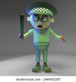 Undead zombie monster policeman with truncheon, 3d illustration render