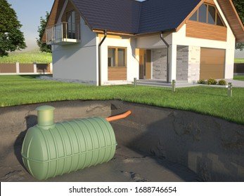 Undenground septic tank and house -  3d Illustration