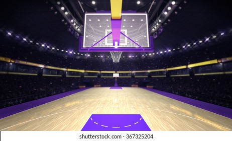 under basketball hoop on basketball court, sport topic arena interior illustration