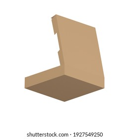 Under Bottom back ortographic view Brown carton paper cardboard long food box cake packaging with hand holder Type N mock up template camera type digital design graphic 3d hd illustration