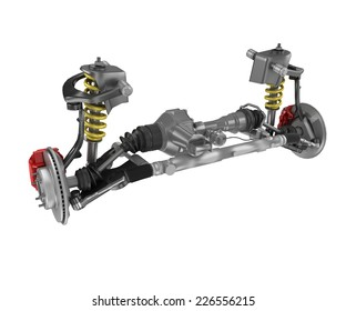 Under carriage technical 3 D rendering, of a generic sedan contemporary car. Perspective view On white background, with clipping path.
