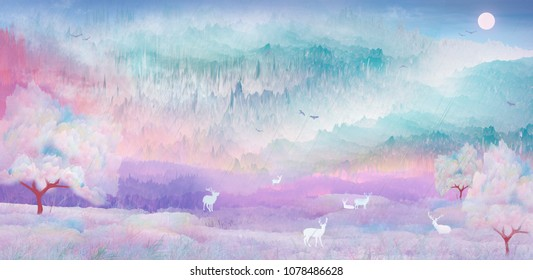 Under the cherry tree deer playing in fairyland scenery