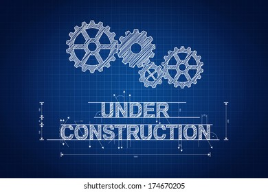 Under construction blueprint, technical drawing with gear wheel.