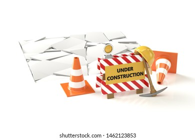Under construction concept. 3D barrier isolated on white. 3D illustration